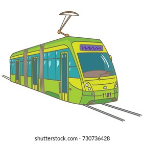 City tram on the tracks