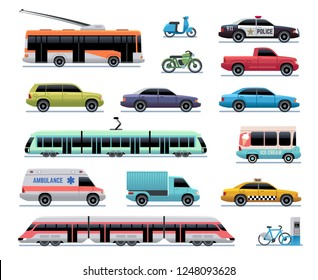 City transport. Cartoon car, bus and truck, tram. Train, trolleybus and scooter. Urban vehicle vector transportation collection