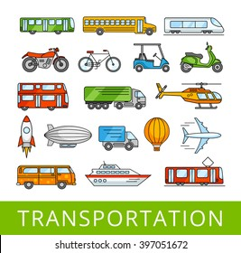 City transport collection. Transportation, cars and various vehicles. A set of vector color illustrations.