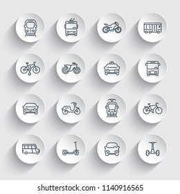 City transport icons set, cab, bus, train, subway, cars, bikes, scooters