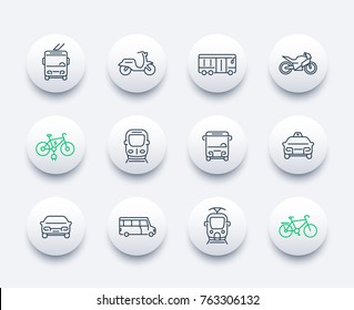 City transport icons set, transit van, subway, bus, taxi car, train, tram, bikes, linear style