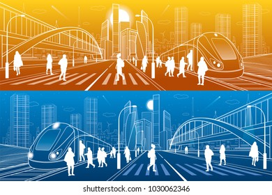 City and transport illustration. Big bridge. Pedestrian crossing. Passengers get in train, people at station. Modern town on background, towers and skyscrapers. White lines. Vector design art