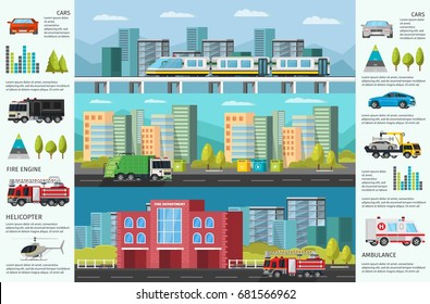 City transport infographic horizontal banners with municipal public vehicles cityscape and diagrams vector illustration