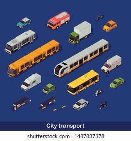City transport isometric color vector illustration. Urban transportation infographic. Tram, trolleybus, cars and motorcycle. Emergency help services. Auto 3d concept isolated on blue background