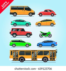 City transport set flat isolated cars, motorcycle, van, bus, taxi on blue background illustration. Multicolored stylish cars mockups, red, blue, green, yellow & turquoise colors