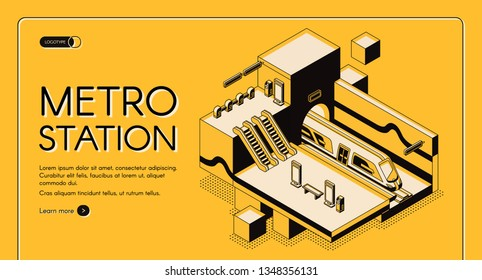 City transport system infrastructure isometric vector web banner, landing page template. Modern subway train in tunnel of underground metro station with escalators cross section, line art illustration