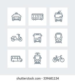 City transport, tram, train, bus, bike, taxi, trolleybus, public transport, line icons, vector illustration