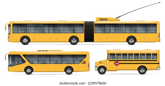City transport vector mockup for vehicle branding, advertising, corporate identity. Isolated buses on white background. All elements in the groups on separate layers for easy editing and recolor.