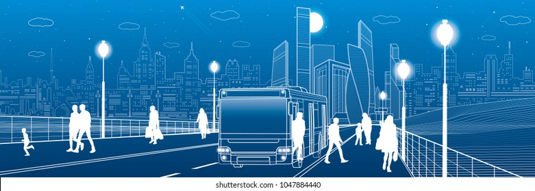 City transportation infrastructure panorama. Passengers get off the bus. people walk down the street. Night town on background, vector design art