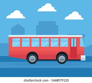 City transportation and mobility, public bus passing by cityscape vector illustration graphic design.