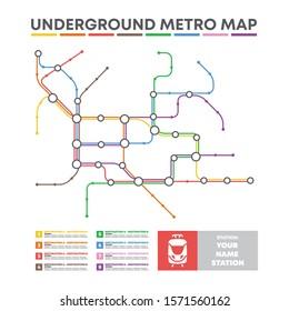 City transportation vector scheme. Metro underground map. Crossrail map design template. Subway tube map.