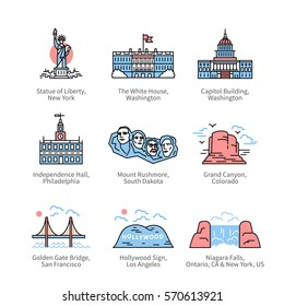 City travel landmarks, tourist attraction in various places of United States of America. Thin line art icons with flat colorful design elements. Modern linear style illustrations isolated on white.