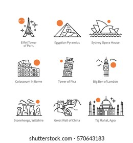 City travel landmarks, tourist attraction in various countries of Europe, Asia & Africa. Thin black line art icons with flat design elements. Modern linear style illustrations isolated on white.
