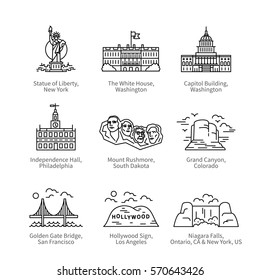 City travel landmarks, tourist attraction in various places of United States of America. Thin black line art icons with flat design elements. Modern linear style illustrations isolated on white.