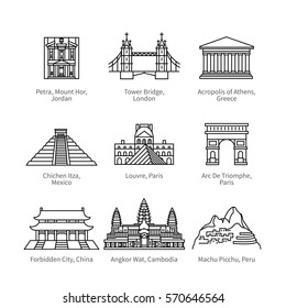 City travel landmarks, tourist attraction in various countries of Europe, Asia & America. Thin black line art icons with flat design elements. Modern linear style illustrations isolated on white.