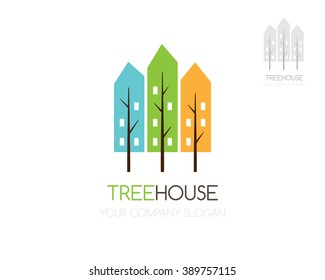 City tree icon. Green town emblem. Eco house vector logo template.