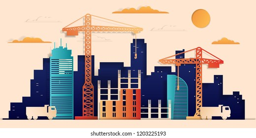 City under construction colorful paper cut style, vector stock illustration.  Skyline city composition for design, building a house.