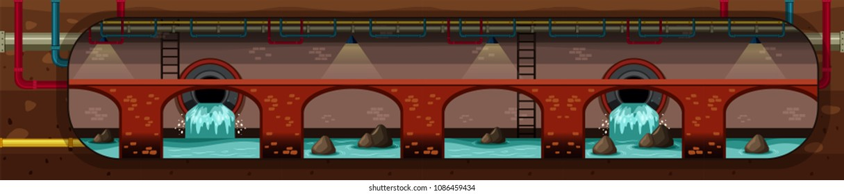 City Underground Pipe Drain Systems  illustration