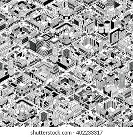 City Urban Blocks Seamless Pattern (Large) in isometric projection is hand drawing with perimeter blocks, courtyards, streets and traffic. Illustration is in eps8 vector mode, pattern is repetitive.
