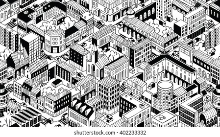 City Urban Blocks Seamless Pattern (Small) in isometric projection is hand drawing with perimeter blocks, courtyards, streets and traffic. Illustration is in eps8 vector mode, pattern is repetitive.