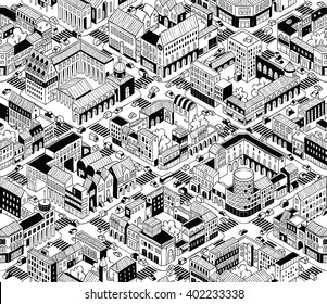 City Urban Blocks Seamless Pattern (Medium) in isometric projection is hand drawing with perimeter blocks, courtyards, streets and traffic. Illustration is in eps8 vector mode, pattern is repetitive.