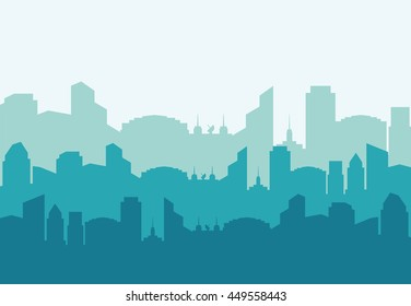 City and urban concept represented by building and tower silhouette icon. Colorfull and Flat illustration