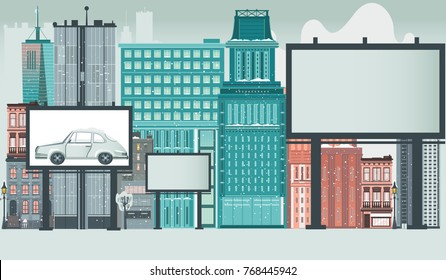 City, urban, downtown scene with high rise buildings and blank empty advertisement billboards with space for text, flat vector illustration. City, urban scene with billboards, advertising template