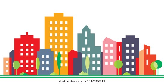 City and urban greenery, vector illustration. Silhouette of colorful houses. Colored plaster on facades. Street with trees. Modern living in the city.