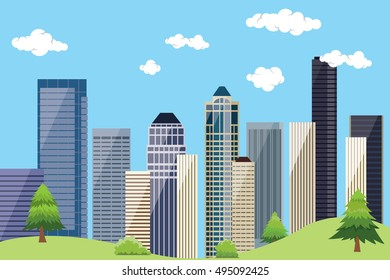 city urban landscape with building skyscrapper and blue sky and green tree
