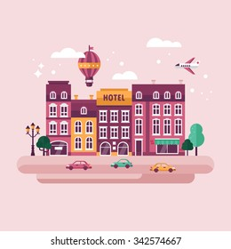 City urban landscape with flat stylish icons. Travel and tourism concept