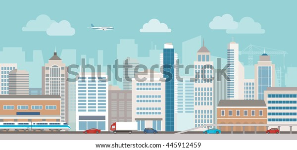 高層ビル、駅、企業ビル、車の交通など都市景観