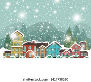 city urban in snowscape scene