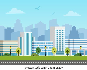City urban vector landscape. Panorama of buildings in front of skyscrapers. Birds in the sky, empty road.
