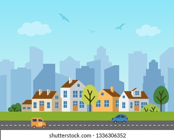City urban vector landscape. Panorama of cottages in front of skyscrapers. Birds in the sky, cars on the road.