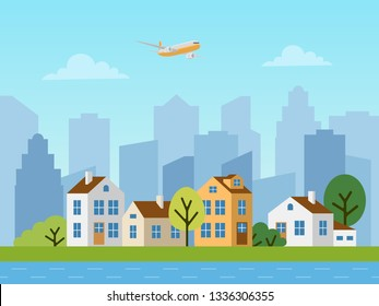 City urban vector landscape. Panorama of cottages in front of skyscrapers. Plane in the sky, blue river.