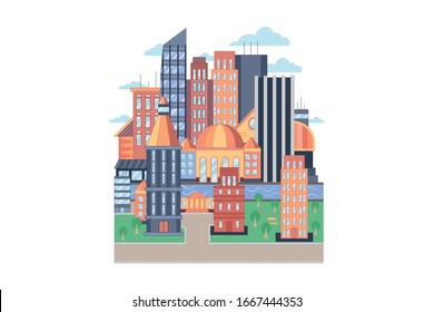 City vector geometric flat style illustration. City street or block. Colorful pattern of town with river, buildings, roads and skyscrapers. Vector illustration isolated on white background.