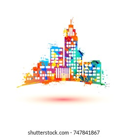 City. Vector icon. Watercolor paint colorful splashes