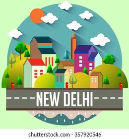City vector illustration - NEW DELHI