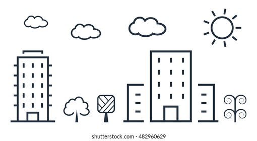 City vector illustration in thin line style.
