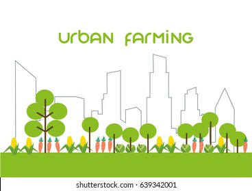 city vector line concept. garden and farming on city landscape.