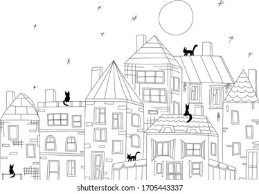 city building vector. Small town. Cute houses drawn by hand. Black cats walk on the roofs. Night, big moon and stars