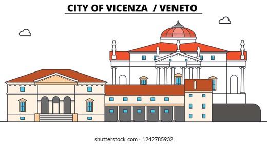 City Of Vicenza - Veneto  line travel landmark, skyline, vector design. City Of Vicenza - Veneto  linear illustration.