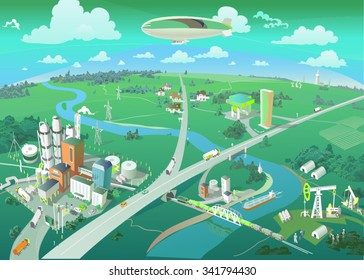 City view from the bird's eye. Panorama of the city. Vector
