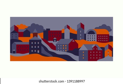 City view with buildings - icons set of urban landscape at night. Abstract background for banners, covers - orange, blue vinous colored. Vector illustration
