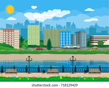 City view. Cityscape. Bench, lamp. Residental buildings. Road, truck, cars. Public transportation system. Waterfront, river embankment Clouds sky and sun Vector illustration in flat style