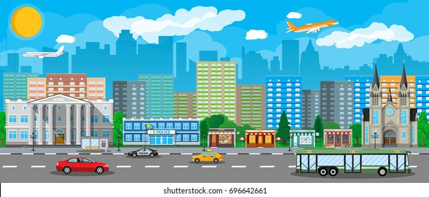 City view. Cityscape. Office and residental buildings, shops, church, bank, police. Road, bus and cars. Public transportation system. Clouds sky aircraft and sun. Vector illustration in flat style