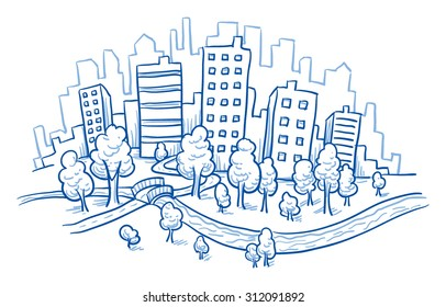 City view with office buildings, river and park, hand drawn doodle vector illustration