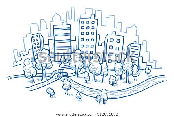 Stadtblick mit Bürogebäuden, Fluss und Park, handgezeichnete Dodvektor-Vektorgrafik