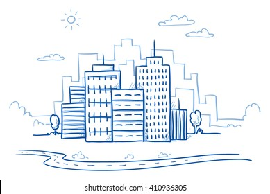 City view with office buildings and road. Hand drawn doodle vector illustration