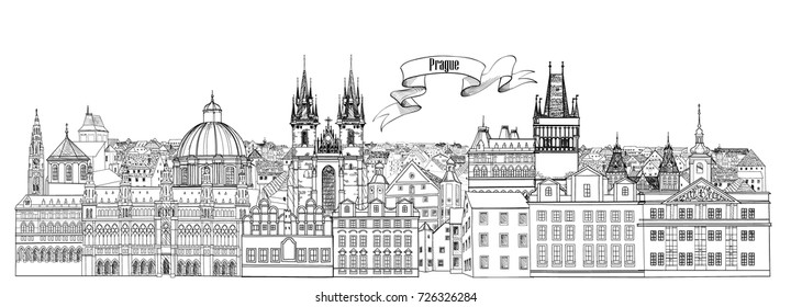 City view. Prague old town landmarks skyline. Travel Czech background